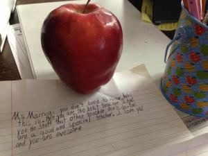 A precious letter and apple I received from my students a few months ago.